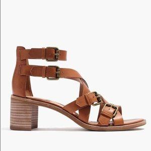 Madewell Talisa Wood Block Heel Buckle Sandals 8